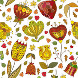 Vector autumn doodles seamless pattern Royalty Free Stock Images