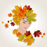 Vector autumn face illustration. Girl stylized profile design with autumn leaves, vector illustration Stock Photography