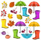 Vector autumn fall collection set. Autumn colors. Big collection for your design vector illustration