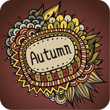 Vector autumn floral and leaves card design Stock Photo