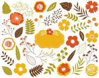 Vector Autumn Floral Set with Leaves, Flowers, Berries and Frame.  Vector Autumn Leaves and Flowers. Vector Fall. Royalty Free Stock Photos