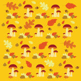 Vector Autumn forest mushrooms and leaves pattern Stock Image