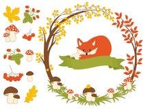 Vector Autumn Forest Set with Fox, Mushrooms, Wreath and Leaves. Autumn Clipart. Vector Illustration. Vector autumn forest set with cute red fox, autumn wreath Royalty Free Stock Photos