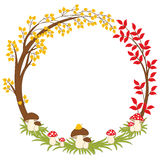 Vector Autumn Forest Wreath with Amanita, Leaves and Berries. Vector Fall vector illustration