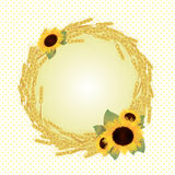 Vector autumn frame. Autumn vector wreath with sunflowers and corn Stock Images