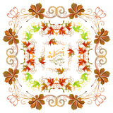 Vector autumn frames set. Bright frames, corners, page decorations and dividers, swirls and flourishes isolated on white background. Colourful maple and royalty free illustration