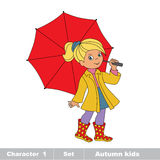 Vector autumn girl with umbrella. Royalty Free Stock Image