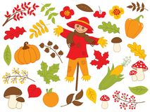 Vector Autumn Set with Leaves, Vegetables and Scarecrow. Vector autumn harvest set. Set includes scarecrow, pumpkin, mushrooms, red berries, corn, pepper and royalty free illustration
