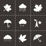 Vector autumn icon set. On black background Stock Photography