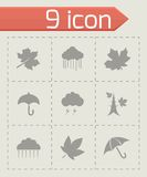 Vector autumn icon set. On grey background Stock Photography