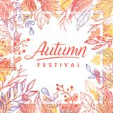 Vector autumn illustration. Autumn festival.Hand drawn lettering with leaves in fall colors.Seasons greetings card perfect for prints, flyers, banners Stock Images
