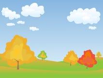Vector autumn landscape. Vector autumn tranquil easy landscape Stock Photo