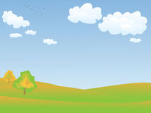 Vector autumn landscape. Autumn landscape with flying geese away Stock Photos
