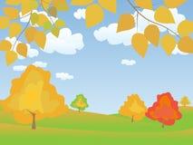 Vector autumn landscape. Vector autumn tranquil easy landscape Stock Image