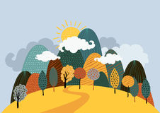 Vector autumn landscape background. Royalty Free Stock Image