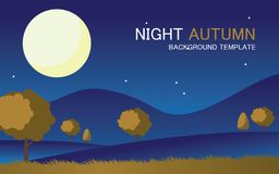Vector autumn landscape background template. With a big moon royalty free illustration