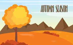 Vector autumn landscape background template. With a big moon stock illustration