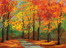 Vector of autumn landscape, pathway in park. Royalty Free Stock Image