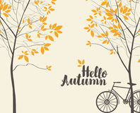 Vector autumn landscape with trees and bike Stock Images