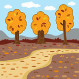 Vector autumn landscape, woodland scenery Stock Image