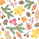 Vector autumn leaf seamless pattern. Fall forest. Background vector illustration