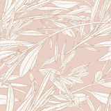 Vector autumn leaves and branches seamless pattern. Neutral beige fall background with doodle leaves. Stock Photo