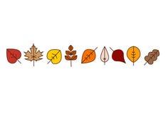 Vector autumn leaves red, orange yellow colors line art. Seasonal illustration, border design Royalty Free Stock Image