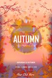 Vector autumn party poster , yellow autumn maple leaves. EPS 10. royalty free illustration