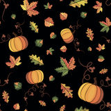 Vector autumn pattern. Vector pattern with the image of autumn leaves on a black Stock Photos