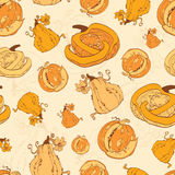 Vector Autumn Pumpkins Harvest Seamless Pattern Stock Photography