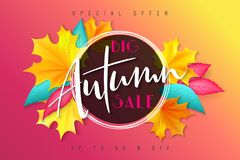 Vector autumn sale banner with hand lettering and leaves.  vector illustration