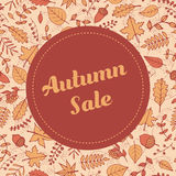 Vector autumn sale banner with pattern containing leaves and acorns. Flyer template for your design. Stock Image
