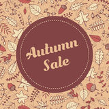 Vector autumn sale banner template with autumn pattern Stock Photography
