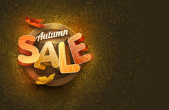 Vector Autumn Sale Design. With leaf icons and leaf frame Stock Image
