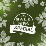 Vector Autumn sale green background Stock Photo