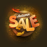 Vector Autumn Sale Poster Design Template Stock Images