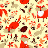 Vector autumn seamless pattern with animals and florals Stock Images