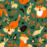 Vector autumn seamless pattern with animals and florals Royalty Free Stock Photos