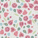 Vector autumn seamless pattern background with elements, leaves, pomegranate, berries, beetles stock illustration