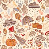 Vector autumn seamless pattern with leaves, cloud, acorn, umbrel. Lovely autumn concept childish vector seamless pattern with leaves, cloud, acorn, umbrella stock illustration
