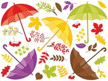 Vector Autumn Set of Colorful Umbrellas with Leaves. Vector autumn set with umbrellas, colorful leaves and berries. Vector fall. Autumn set with umbrellas and Royalty Free Stock Photography
