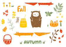Vector autumn set in linocut style Royalty Free Stock Photo