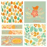 Vector autumn set, seamless pattern with leaf, autumn leaf backg Royalty Free Stock Photos