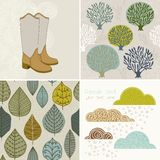 Vector autumn set, seamless pattern with leaf, autumn leaf backg Stock Photos