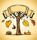 Vector autumn tree with yellow falling leaves Royalty Free Stock Photo