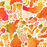 Vector autumn watercolor pattern. Handpainted texture with flowe Royalty Free Stock Photography