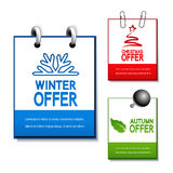 vector autumn, winter and Christmas offer notepad Royalty Free Stock Photos