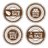 vector autumn, winter, Christmas sale stamps Stock Photography