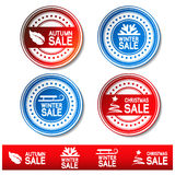 Vector autumn, winter, Christmas sale stickers Royalty Free Stock Images