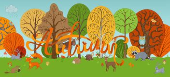 Vector autumn woodland background in cartoon style. Royalty Free Stock Images